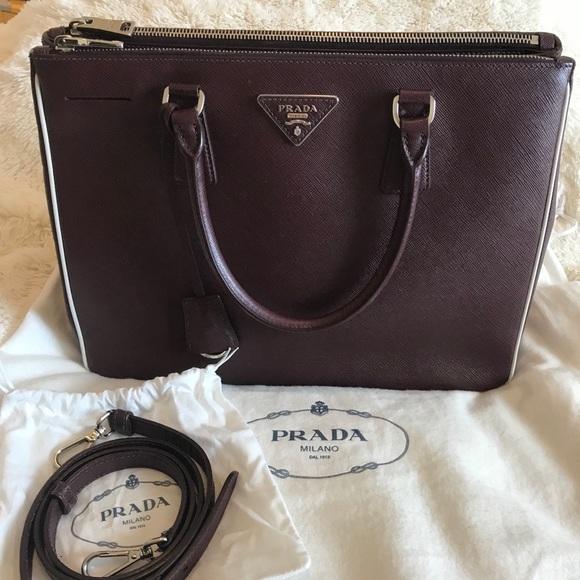 64a2c3e99b12f7 Prada Bags | Saffiano Lux Double Zip Tote Burgundy | Poshmark